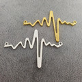 50pcs/lot DIY Jewelry Accessories silver gold alloy metal ECG Feeling of heart charm connectors for necklace Jewelry making
