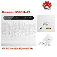Huawei b593u 12 разблокирована 4 г LTE CPE маршрутизатора Беспроводной шлюз белого цвета + 4 г антенны двойной SMA разъем 35dbi усиления
