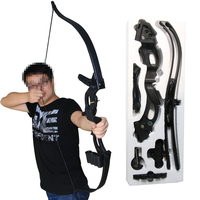Archery Bows And Arrows Black Plastic Traditional Recurve Longbow For Adult Outdoor Sports Shooting Entertainment