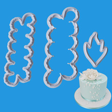 3Pcs/Set Fondant Cutter for Cake Decorating Tool Plastic Peony Flower and Leaf Bakeware Kitchen Baking Moulds Mold