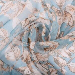 Image 3 - BYSIFA écharpe 100% en mousseline de soie pour femmes, écharpe de cou de marque, Design, feuilles, gris, kaki, châle de plage, automne et hiver