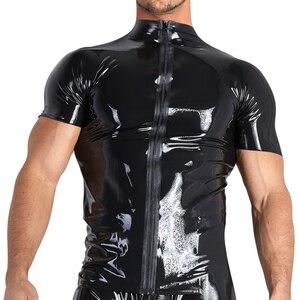 Sexy plus size mężczyźni kobiety bielizna koszulki męskie pu lateks zipper bielizna catsuit PU sexy gay mężczyzna kobiet koszula sukienka do klubu