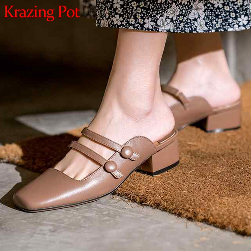 Krazing Pot genuine leather mules women med heels slip on Korean version sweety girl gladiator beauty summer holiday pumps L18Krazing Pot genuine leather mules women med heels slip on Korean version sweety girl gladiator beauty summer holiday pumps L18
