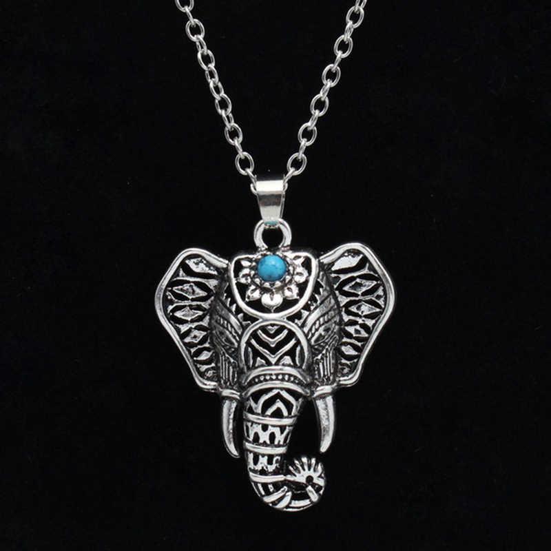Bohemian ชาติพันธุ์หินสีฟ้าช้างจี้สร้อยคอผู้หญิงเครื่องประดับสร้อยคอผู้หญิง