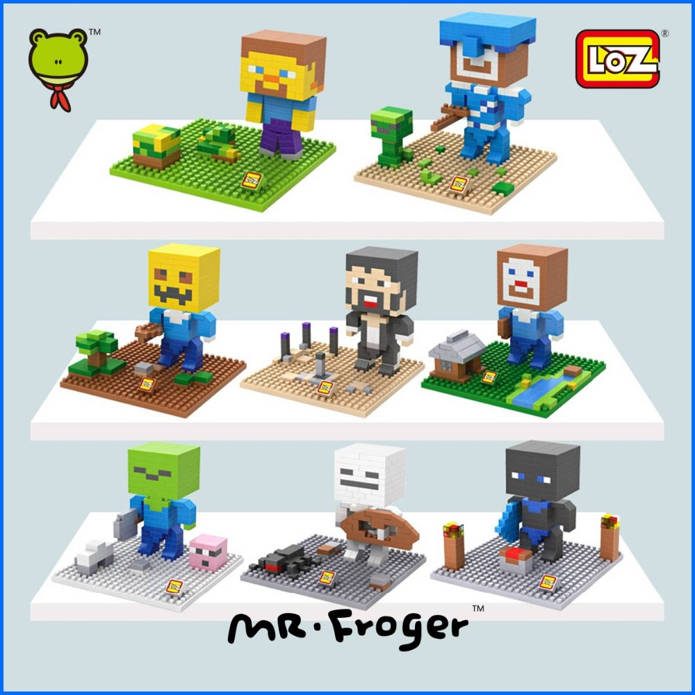 ФОТО mr.froger loz minecraft diamond block minifigures building blocks classic toys for children game related products gift