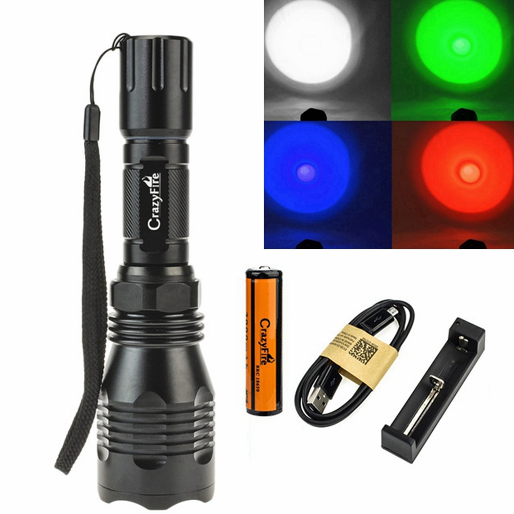 Hunting Flashlight 18650 Battery 1 Mode 300M Long Range 1000 Lumen Red Green Light Led Cree XRE 802 Torch Tactical Hand Lamp цена