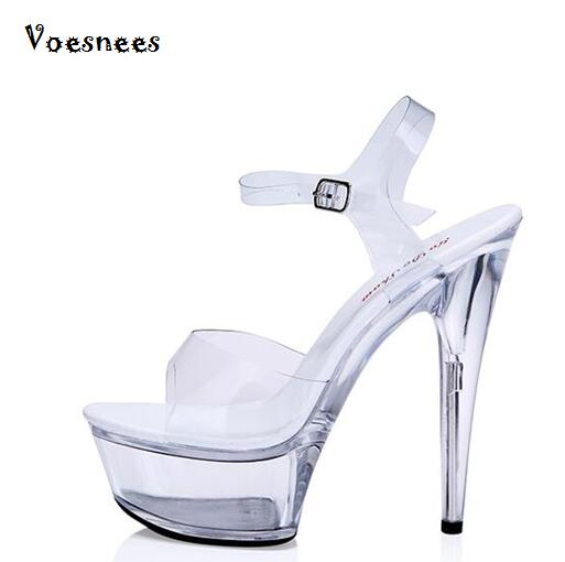 Model Catwalk Shoes Shoes Women Sexy Sandals Non-slip Crystal Transparent Waterproof 15cm Fine with High-heeled Shoes large size 2015 summer women s high heeled shoes fish head shoes korea princess waterproof fine with sexy high heeled sandals