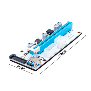 3 in 1 4pin molex pci-e riser 008 card 6pin riser sata 60cm pcie 1x to 16x pci express riser card for antminer bitcoin miner