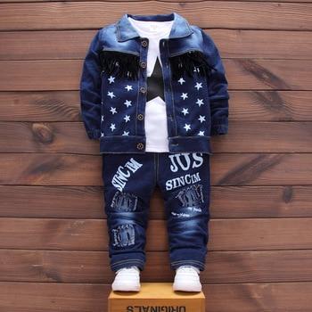 DIIMUU Hot Sale Baby Clothing Boys Fashion Kids Outfits Star Printed Jeans Coat Tops Cotton T-Shirts Elastic Long Pants 3pcs Set