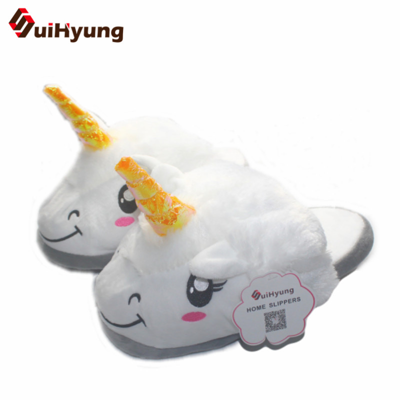 Suihyung Winter Warm Women's Home Slippers Indoor Shoes Funny Unicorn Deisign House Bedroom Floor Slippers Female Plush Slippers multicolor optional cheap funny unicorn slippers women