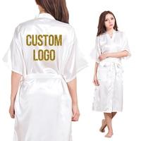 Blank Long Section Custom Logo Faux Silk Kimono Robe Women Wedding Bride Bridesmaid Robes Bachelorette Wedding Preparewear