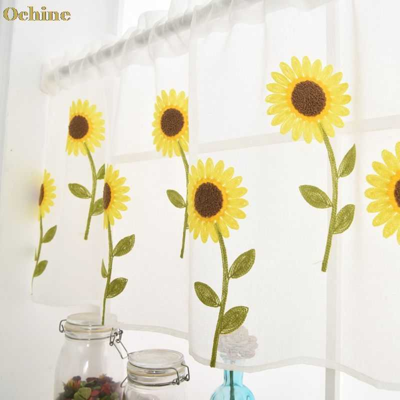 OCHINE Wear Rod Daisy Embroidery Short Curtain Pastoral Shade Kitchen Curtains Half Curtain Short Panel Drapes Valance 50*150cm