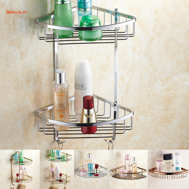 Free Shipping BAKALA Brass Bathroom Shelves With Robe Hook 2 Tier Bathroom  Storage Basket Wall