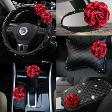 Red Rose Flower Car Seat Interior Accessories Leather Steering Wheel Cover Auto Crystal Headrest Support Handbrake Shifter Cover все цены
