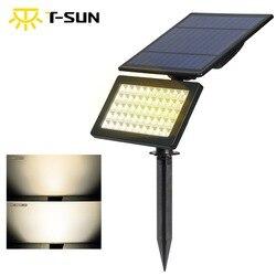 T-SUN 50 LED 3500 K Warm Wit 5 W Solartuinlamp 2 Modes Outdoor Verstelbare & Auto OP/ OFF Security Verlichting voor Yard Garden