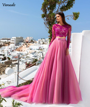 New Listed 2019 Hot Pink Lace Long Sleeves Two Piece Prom Dresses A-line Sequin Appliques Tulle Formal Party Evening Gown