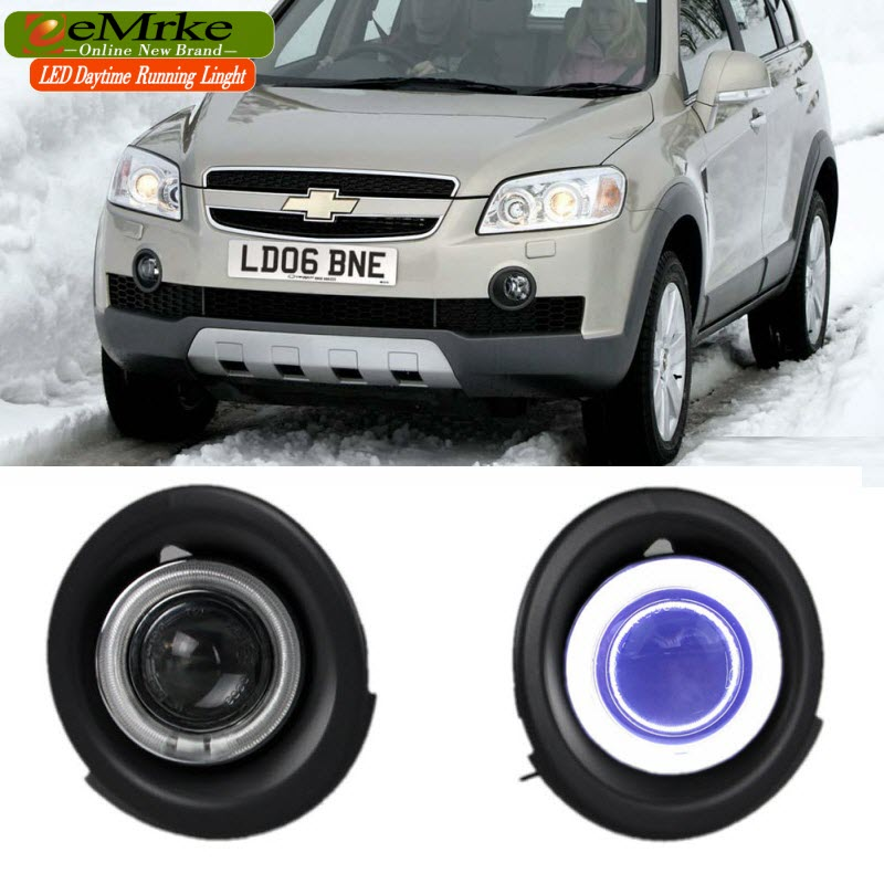 EEMRKE Car Styling FOR Holden Chevrolet Captiva 7 S3X COB Angel Eye DRL Fog Lights H11 55W Daytime Running Lights eemrke cob angel eyes drl for kia sportage 2008 2012 h11 30w bulbs led fog lights daytime running lights tagfahrlicht kits page 5