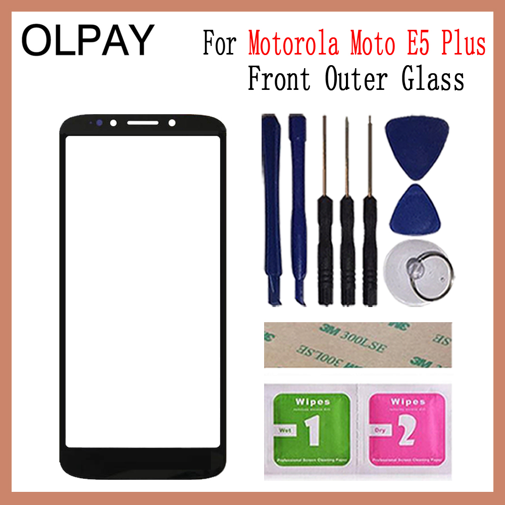 OLPAY For Motorola Moto E5 Plus XT1924 Moto E Plus (5th Gen) Front Outer Glass Cover Panel Replace Not Lcd Touch Screen Lens