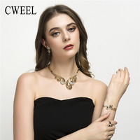 CWEEL Jewelry Sets Gold Plated Imitation Crystal Necklace Bracelet Earrings Rings Wedding Brides Bridal Indian Party