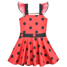 New Lady Bug Moana Trolls Cartoon Clothes Kids Short Sleeve ballet Dress Ladybug Dresses for Girls Summer Dancing Party Clothing