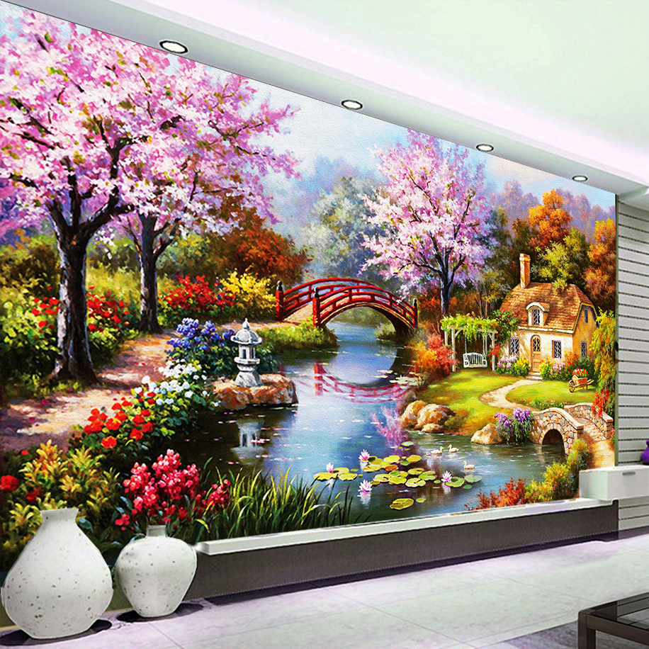 European Beautiful Countryside Blossom Flowers Scenery Oiling Painting Mural For Living Room
