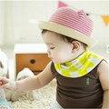 Cool!!! 2016 moda summesummer rayas bebé cat oídos y sunbonnet cap sombrero para el bebé y el bebé boy casual caps sombreros