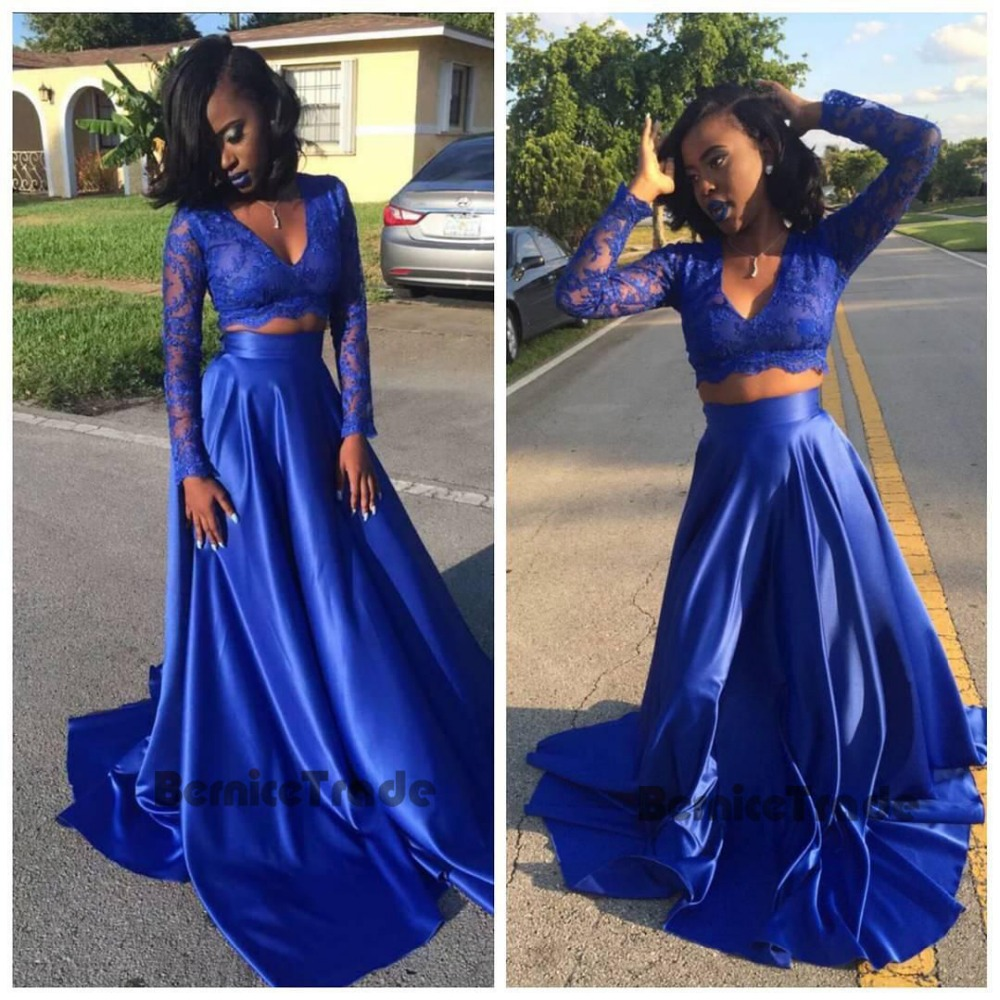 2017 Royal Blue Two Pieces Bridesmaid Dresses