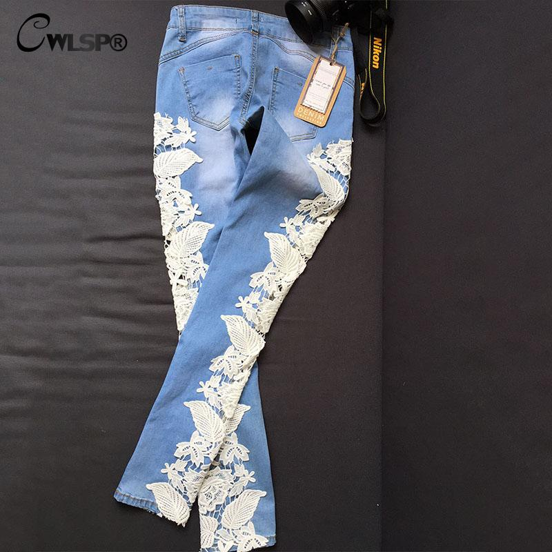 Әйелдер Fashion Side Lace Jeans Hollow Out Skinny Denim Jeans - Әйелдер киімі - фото 4