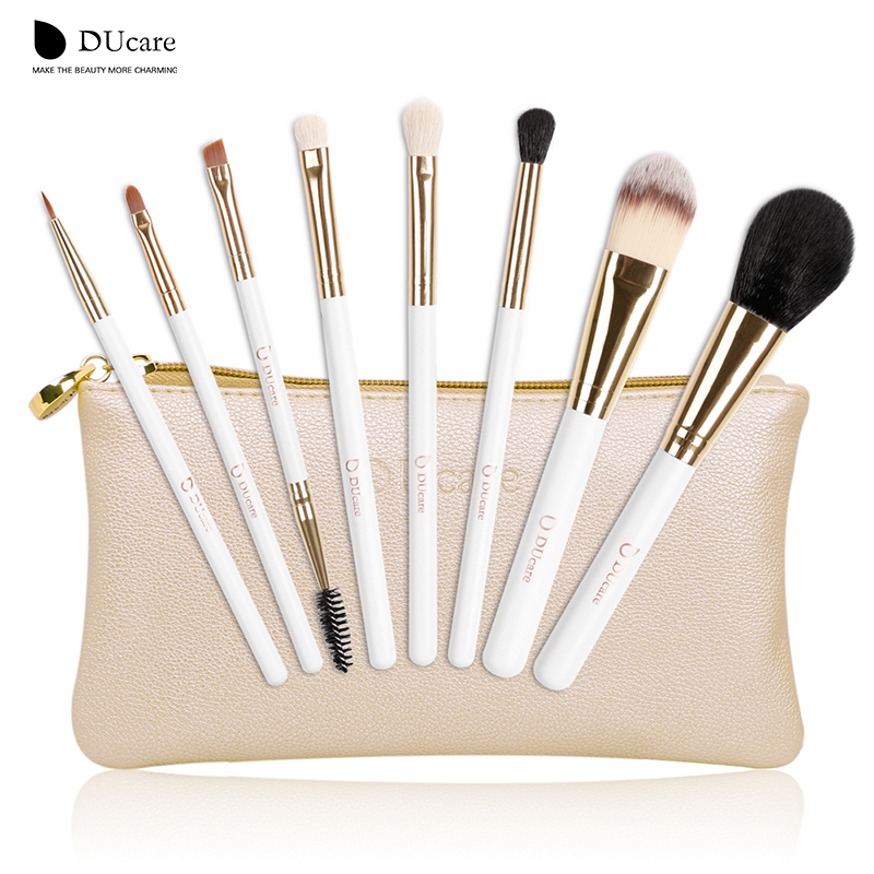 Makeup Brushes & Tools: DUcare make up brushes 8pcs brush set professional Nature bristle brushes beauty essentials  makeup brushes with bag top quality