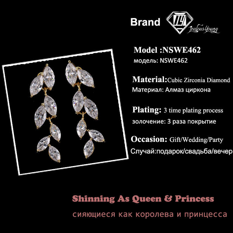 2018 AAA clear Cubic Zirconia Leaf Drop Earrings for Women Party White Yellow Rose Gold Color Marquise Long Earrings AE462
