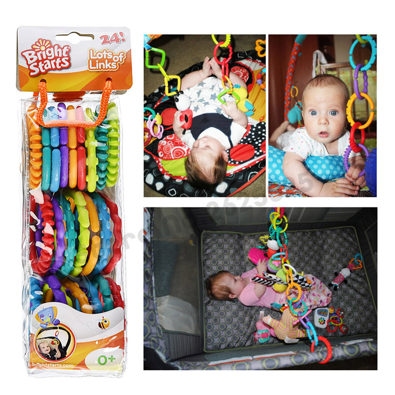 24pcs /set Colorful Rainbow Rings Baby Toy Holder Baby Rattle Crib Bed Pram Stroller Han ...