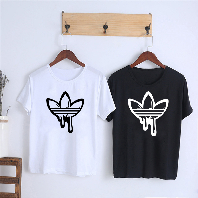 Showtly  Hot AD Printing Women's T Shirt Casual Round Neck European And American Tide Black White Short T Shirt Woman Tee Shirts
