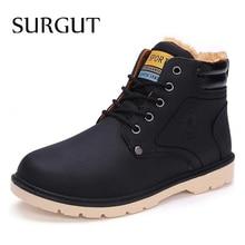 SURGUT Marca Caliente Más Nuevo Mantener A Los Hombres Calientes Botas de Invierno de Alta Calidad de la pu de Cuero Casuales Botas de Trabajo Botas Fahsion Zapatos Esenciales