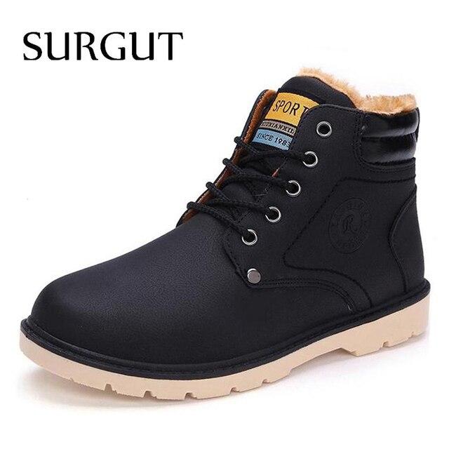 SURGUT marka najnowsza utrzymać ciepłe zimowe buty męskie wysokiej jakości pu skóra buty casual pracy buty Fahsion niezbędne