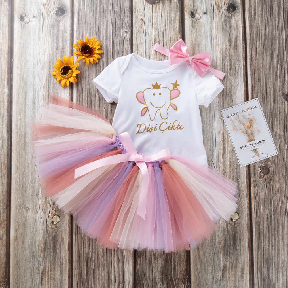 תינוקת קיץ שמלת 2019 מכתב Romper + קשת תלבושות סט תינוק שמלות ילדה יילוד Sukienka Niemowleca