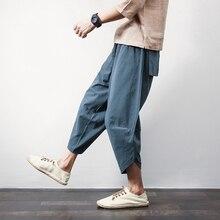 Sinicism Store, хлопковые льняные мужские шаровары, летние мужские повседневные укороченные штаны,, одноцветные мешковатые штаны с большим карманом