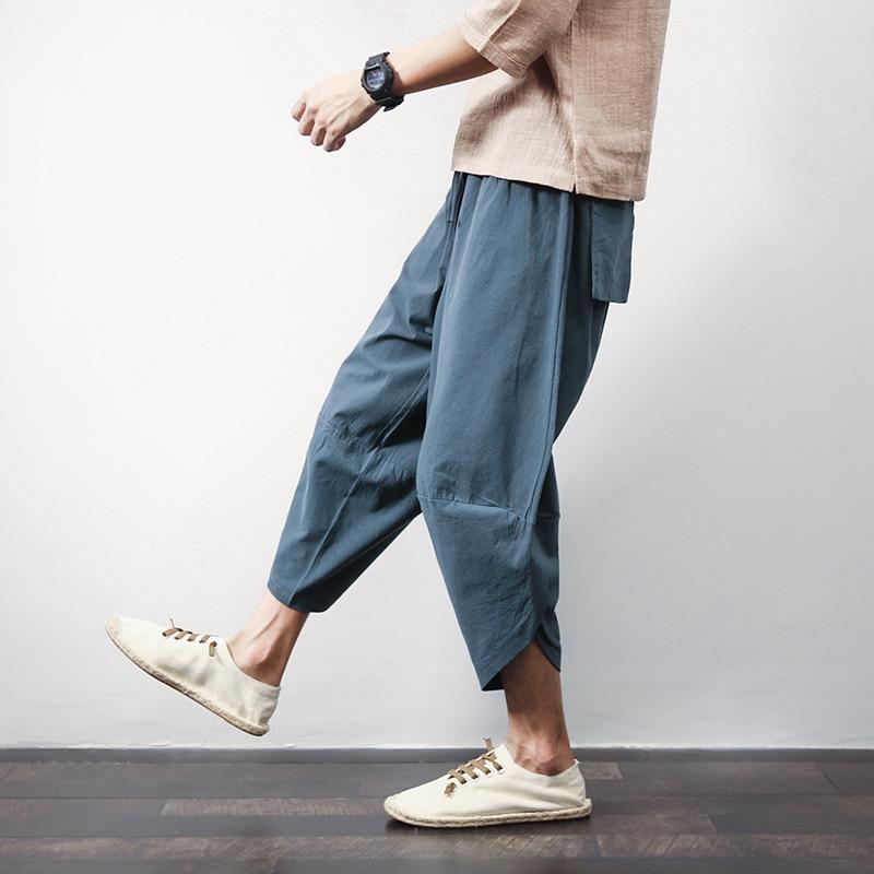 Sinicism Store Cotton Linen Mens Harem Pants Summer Male Casual Calf-Length Pants 2020 Solid Big Pocket Baggy Pants Trousers