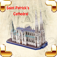 New Year Gift Saint Patrick's Cathedral 3D Puzzle Model Building World Famous Structure DIY Education Toys IQ Game Learning Toy