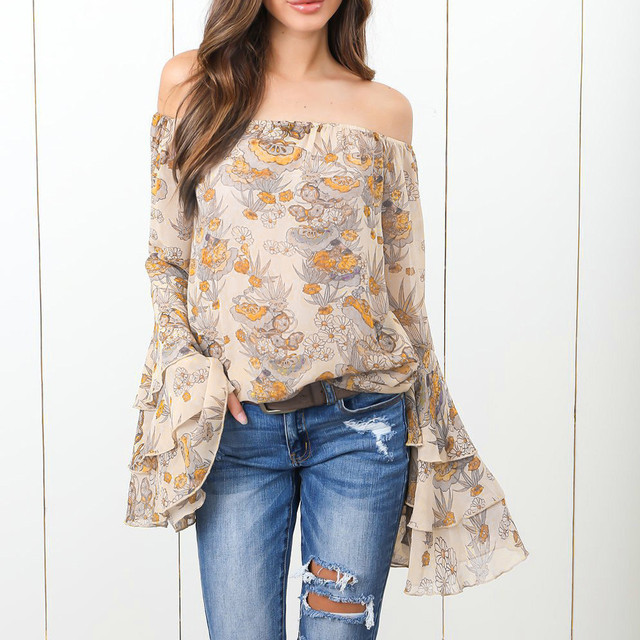 9b98f2f365dc8b 2018 New Arrival Autumn Fashion Womens Polyester Slash Neck Off Shoulder  Print Flare Sleeve Shirt Tops High Quality  30