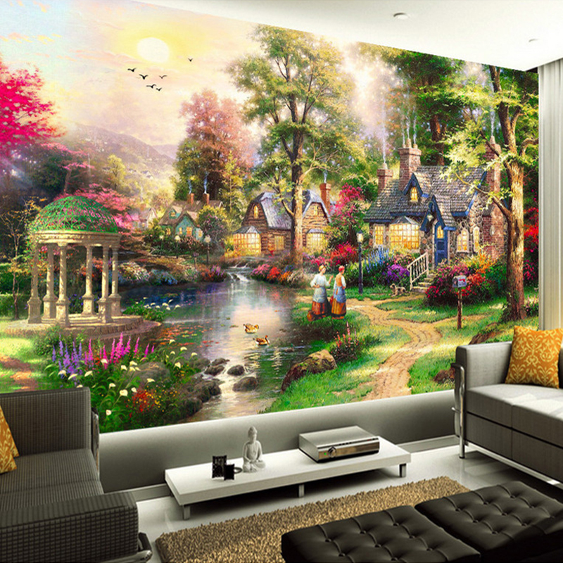 Custom 3D Wall Murals Wallpaper European Style Oil Painting Landscape Hand Painted Living Room TV Wall Decor Mural Wallpaper Art