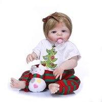 55 см Полный Силиконовые винил возрождается игрушки куклы Классический принцесса девушка дети жив кукла ручной работы милые дети подарок на