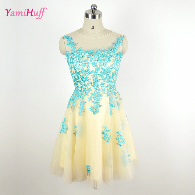 Short Turquoise Homecoming Dress Lace Cheap Semi Formal Dresses High