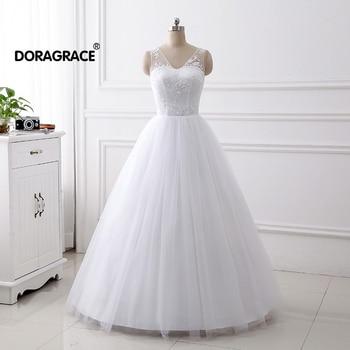 Doragrace vestidos de novia In Stock Applique Tulle Bridal Bride Dress Plus Size Princess Wedding Dresses White
