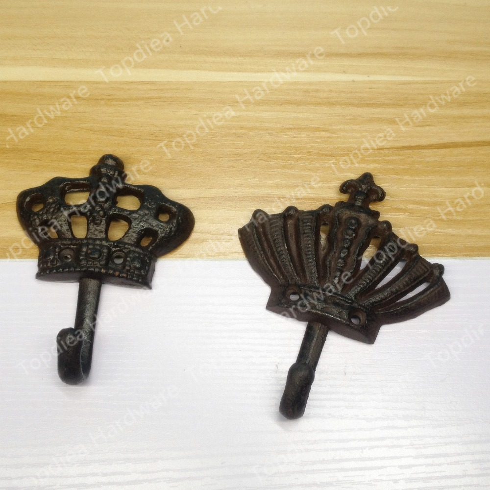 Antique Style European Crown shaped iron wall hooks robe hooks ...