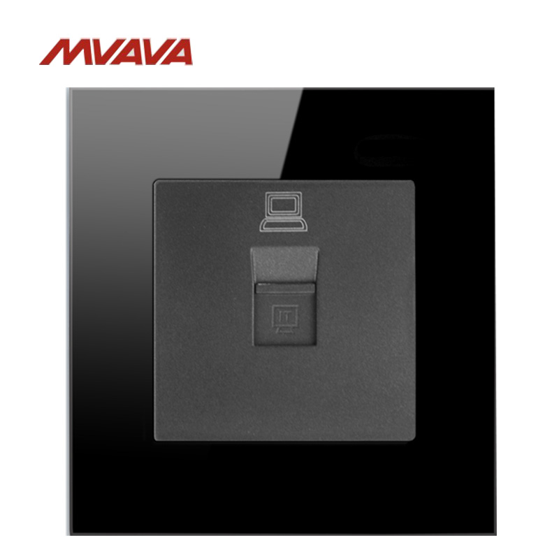 MVAVA RJ45 Computer Jack Plug Port Wall Socket PC Network Data Receptale Luxucy Black Crystal Glass Panel Outlet Free Shipping universal three inserted multifunctional tabletop french socket with rj45 black silver free shipping