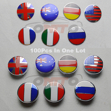 100pcs/lot 60mm 2.36inch car covers Germany France Italy UK flag Jack 56mm auto sticker Car emblem badge wheel center hub caps