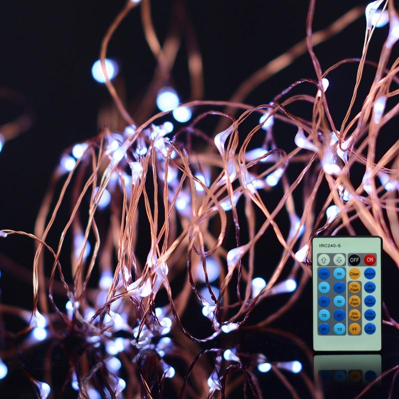 30M IR Remote LED Koppar Wire Novelty Lights String Vattentät - Festlig belysning - Foto 3