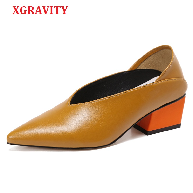 XGRAVITY Size 34-40 Unique Design Genuine Leather Chunky Abnormal Mid-Heeled Women Shoes Pointed Toe Dress Sexy V Design Shoes abnormal psychology 4e