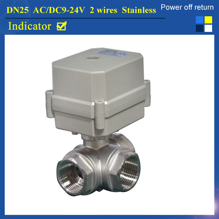 Power Off Return TF25-S3-C AC/DC9-24V 3-Way L Port BSP/NPT 1'' Motorized Valve DN25 SS304 2 Wires High Quality hot tf25 s2 b dn25 full port ss304 electric water valve with manual 2 way bsp npt 1 dc12v dc24v 2 3 5 7 wires metal gear
