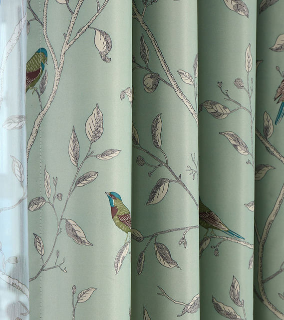 Green Blackout Curtains American Pastoral Style Drapes Birds Printed Home Decor Window Curtain For Bedroom B16302